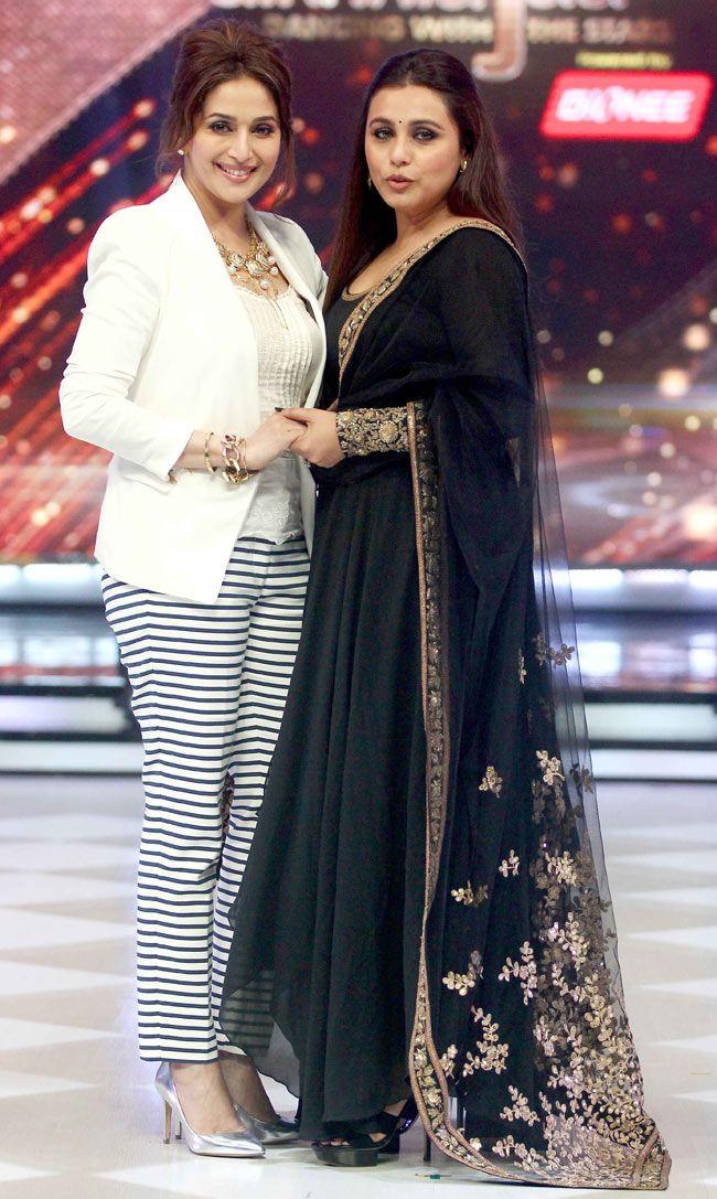 Rani Mukerji with Madhuri Dixit on 'Jhalak Dikhhla Jaa 7'. #Style #Bollywood #Fashion #Beauty