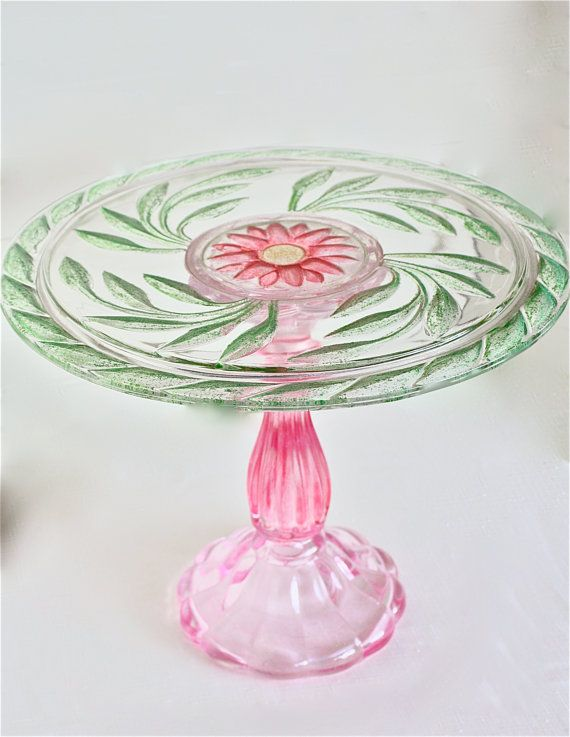 Gorgeous wedding cake stand-huge vintage cake stand-large cake stand-wedding cake stand-pink and green cake stand