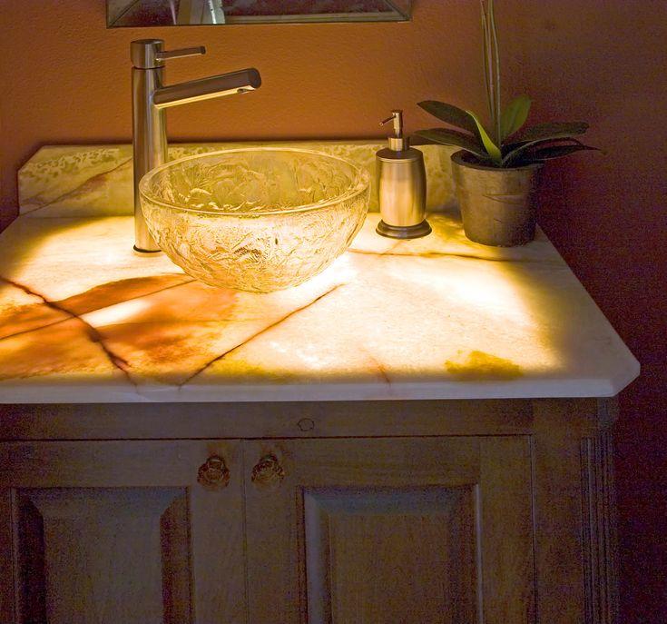 Backlit Onyx Bathroom Washroom Sinks Stone Wall Detail Countertops Home Design Photos