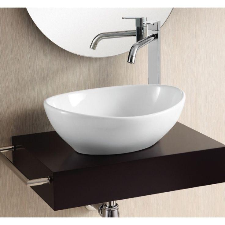 Bathroom Sink Caracalla Ca4047 Oval White Ceramic Vessel