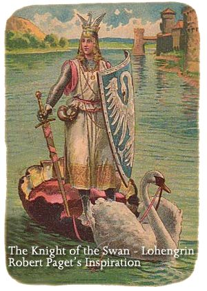 """""""In 1877, Robert Paget and others introduced a new kind of boat to Boston Public Gardens, a catamaran which housed a paddle wheel arrangement that was foot-propelled. To cover the captain, Robert suggested a swan as in the medieval German story in which Lohengrin, a knight of the Grail crosses a river in a boat drawn by a swan to defend the innocence of his heroine, Princess Elsa."""""""