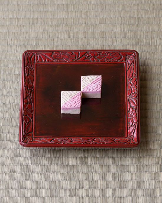 Japanese sweets on a wooden tray from Edo period (1603~1868)
