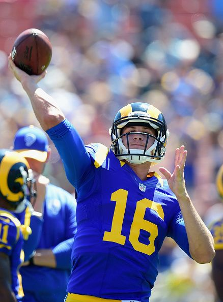 Quarterback Jared Goff of the Los Angeles Rams warms up before playing in the home opening NFL game against the Seattle Seahawks at Los Angeles... https://www.fanprint.com/licenses/los-angeles-rams?ref=5750