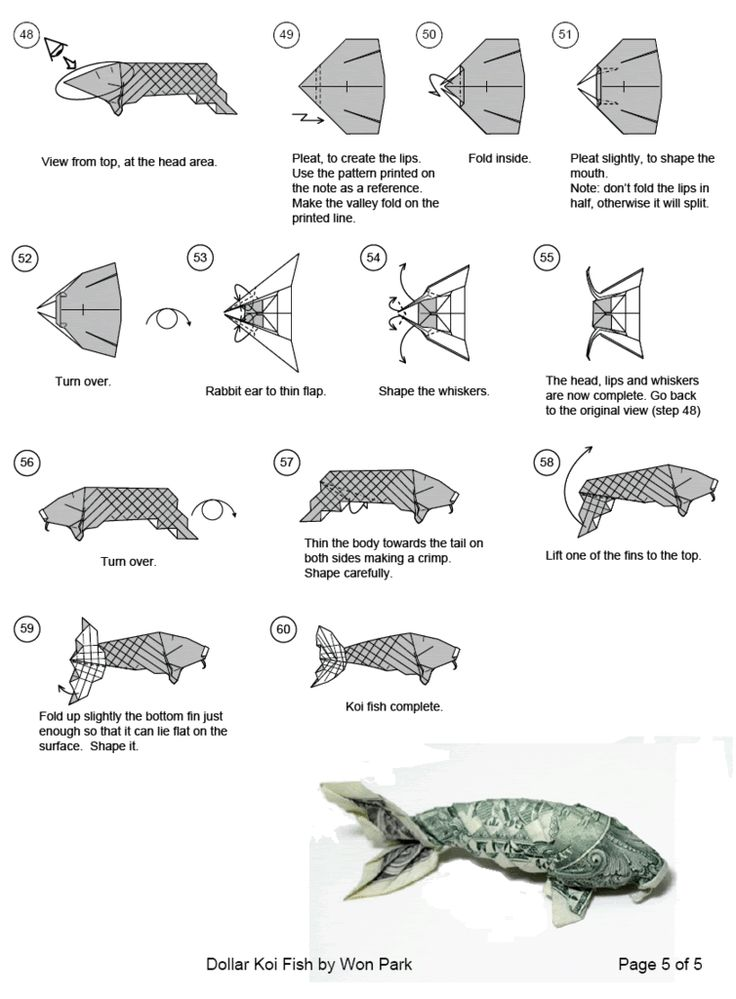 Dollar origami koi follow link for full instructions to for Origami koi fish tutorial