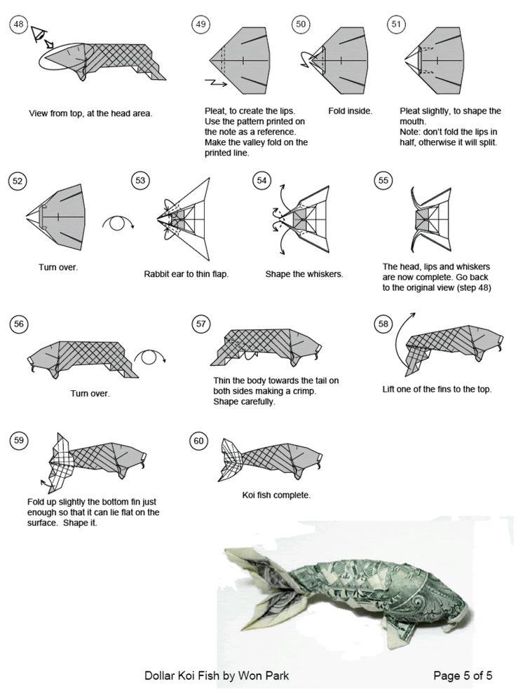 Dollar origami koi follow link for full instructions to for Origami koi fish instructions