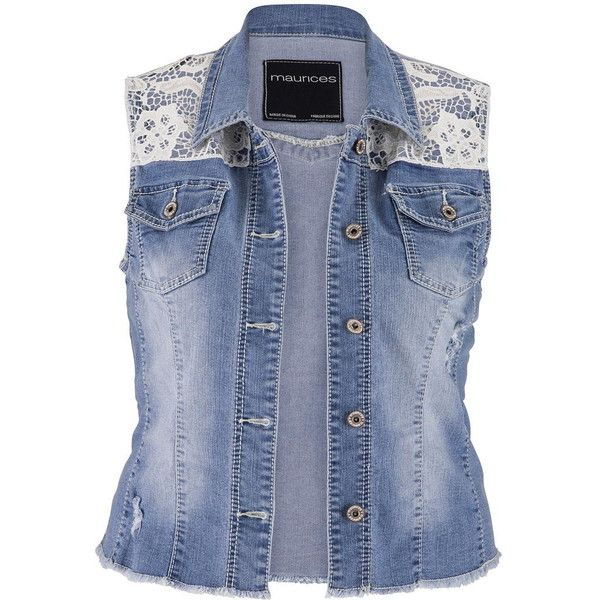 maurices Plus Size - Crochet Top Denim Vest With Pockets ($28) ❤ liked on Polyvore featuring outerwear, vests, jackets, tops, shirts, plus size, medium sandblast, plus size womens vest, blue denim vest and maurices