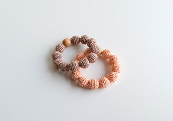 Teething bracelet with wooden crochet beads Nursing by MyFirstToy