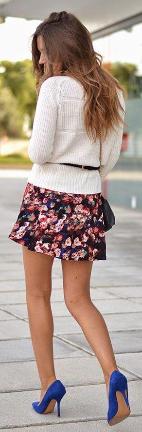 Black Multi Floral Mini Skirt by Mi Aventura Con La Moda
