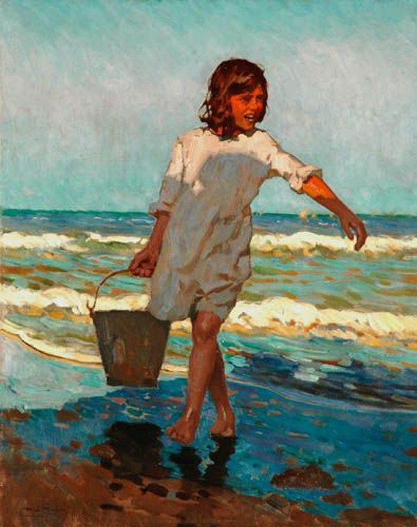 Alberto Pla y Rubio (Spanish, 1867-1937): title unknown [girl in white dress with pail on seashore]; oils on canvas.