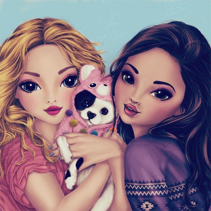 Красивые картинки нарисованных девочек подруг