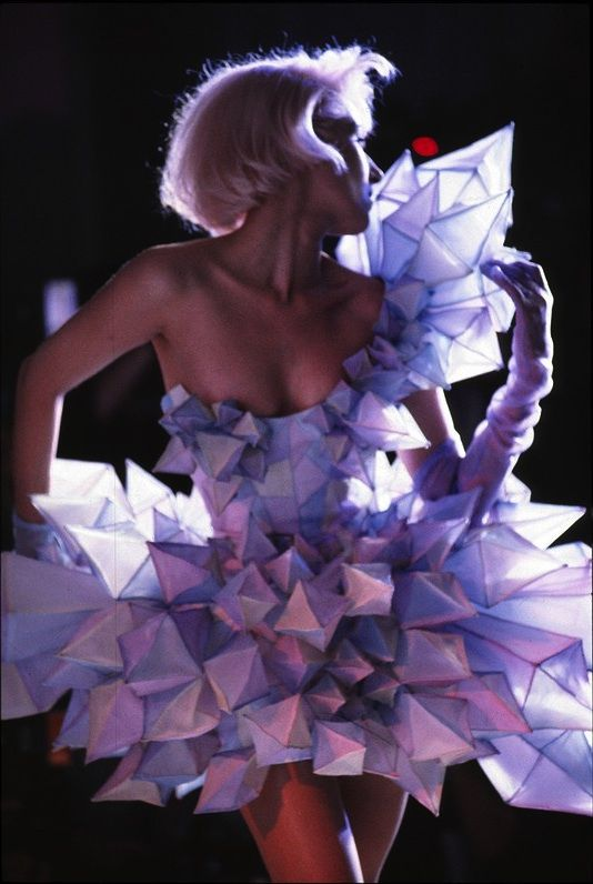 avant garde couture fashion cocktail dress from icicle fabric shapes Thierry Mugler... www.fashion.net