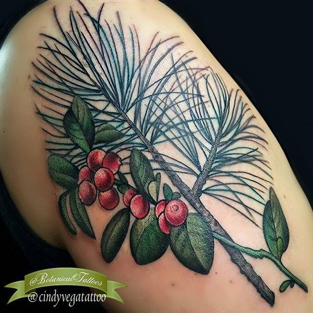 Pine & berry tattoo