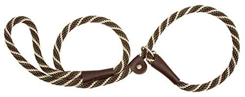 """Mendota Products Small Slip Lead. Leash and Collar in One. Used by professional trainers and handlers for many years  this product has now been adapted for exercise  walking and training. Soft on the hands with it's """"Broken in Feel""""  easy to use and pliable enough to fit in your vest or coat pocket. All brass hardware and oil tanned leather splices."""