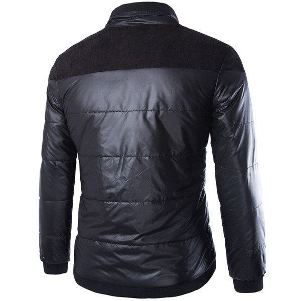 Spring Men Cotton Blend Black Patchwork Thin Warm Zipper Down Jacket Outwear Coat at Banggood sold out