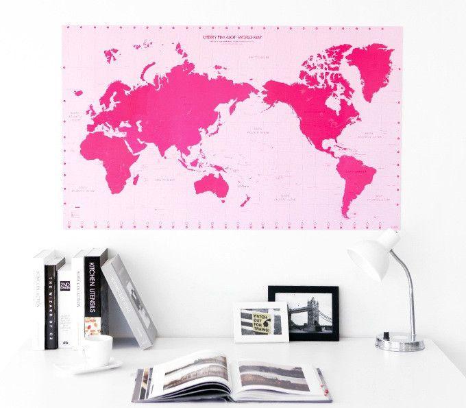 Cherry Pink Dot World Map