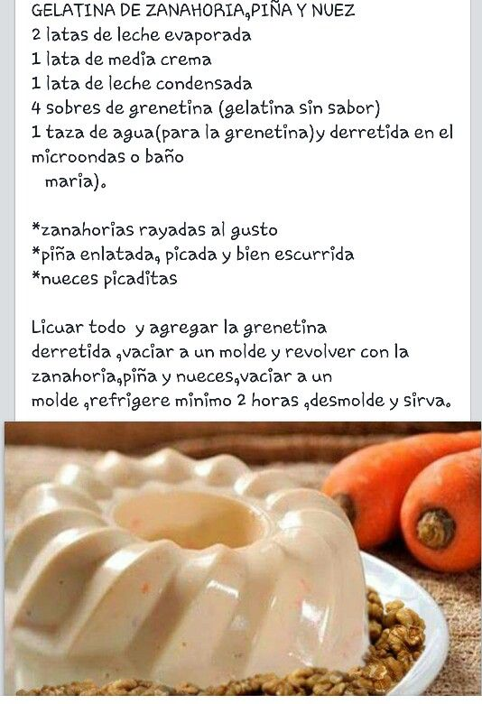 Gelatina de zanahoria, piña y nuez