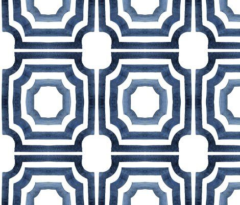 hand painted watercolor lattice fabric in navy