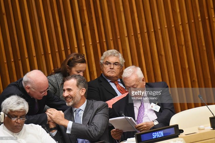 King Felipe VI of Spain (C) attends the 71st United Nations General Assembly at…