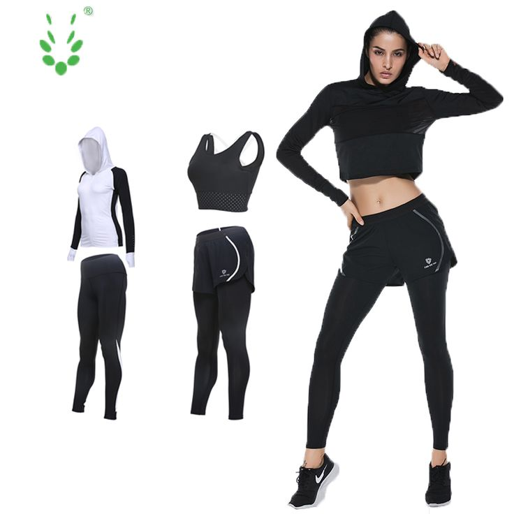 Vansydical Sport Fintess Jogging Running Jacket Suits Gym Fitness Jogging Clothing 4 Piece Set yoga 2017 for women #Affiliate