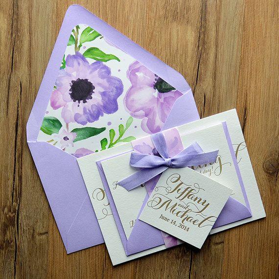 Floral Wedding Invitation, Lavender & Gold Wedding Invite, Rustic Chic Wedding Invite, Calligraphy Invitation - Deposit to Get Started