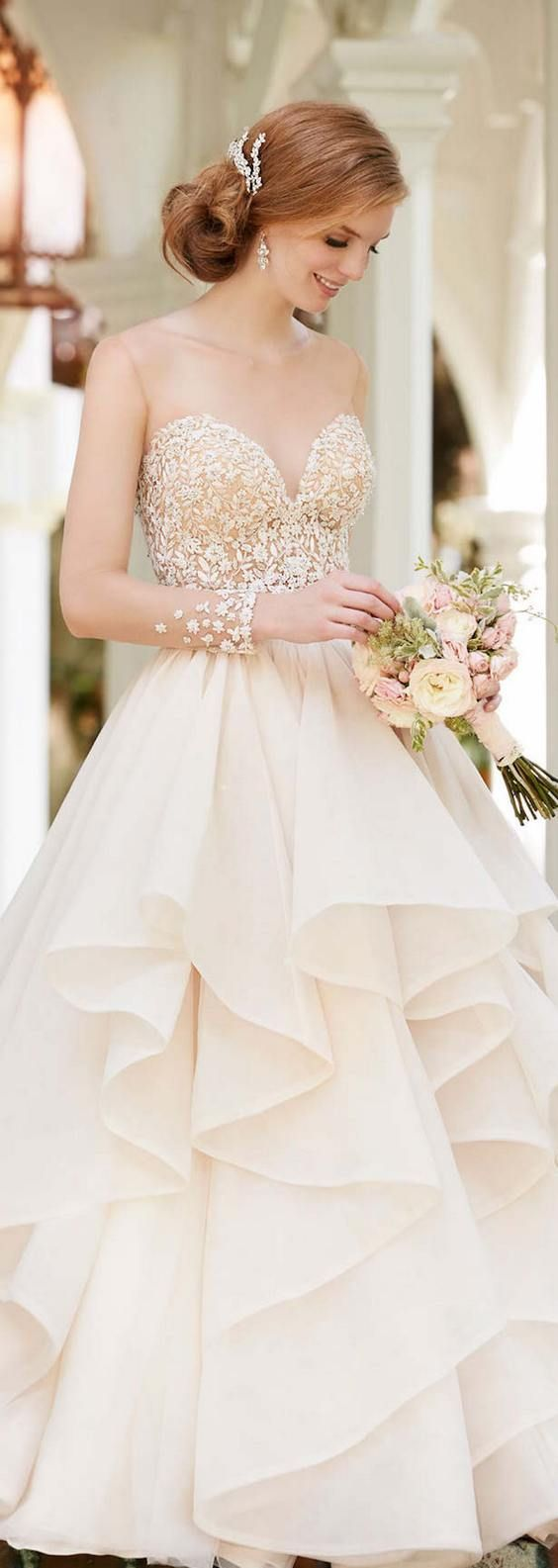 Martina Liana Spring 2016 Sweetheart Ruffled Wedding Dress  / http://www.deerpearlflowers.com/wine-bottle-vineyard-wedding-decor-ideas/
