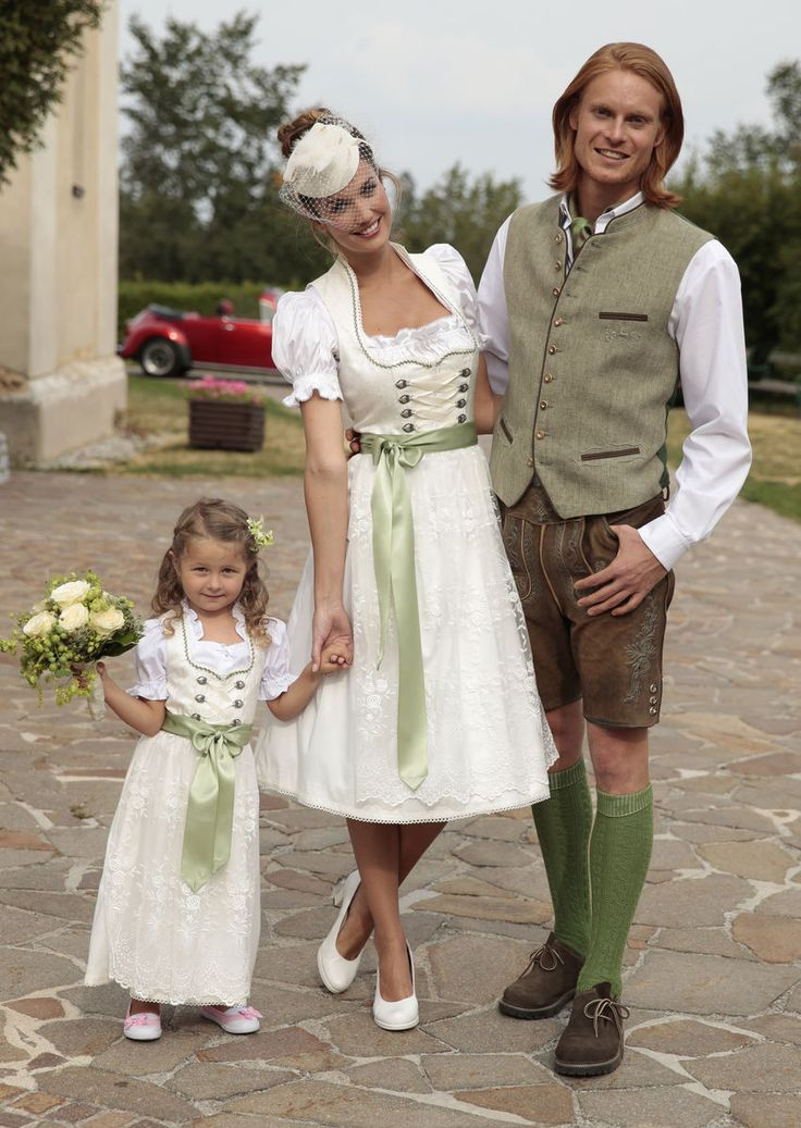 Traditional wedding in white and green