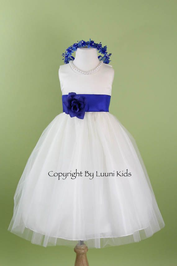 Flower Girl Dress - WHITE Tulle Dress with Blue ROYAL Sash - Bridesmaid, Communion, Easter, Wedding - Baby, Toddler, Child (RBPW)