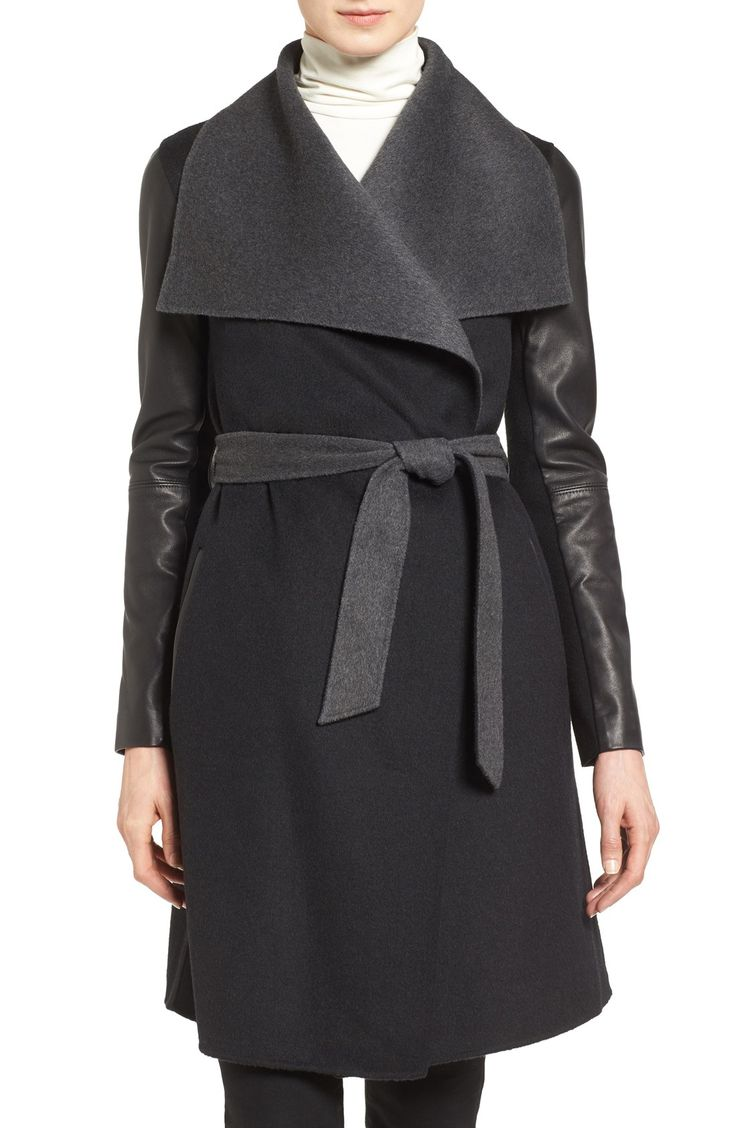 From Nordstrom Semi Annual Sale: Mackage Leather Sleeve Wool Blend Wrap Coat Sale: $464.90