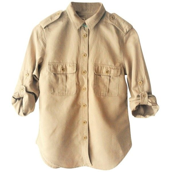 Pre-owned blouse ($75) ❤ liked on Polyvore featuring tops, blouses, beige, sleeve top, beige shirt, military shirt, sleeve blouse and linen tops