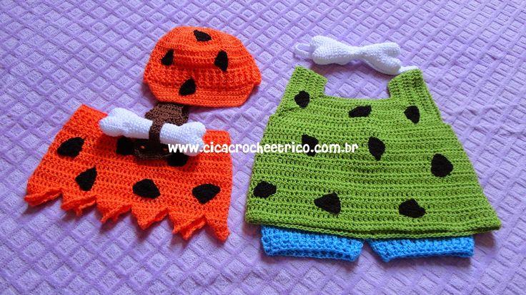 Ciça Crochê e Tricô: Roupa do Bambam e da Pedrita em Crochê para Bebe