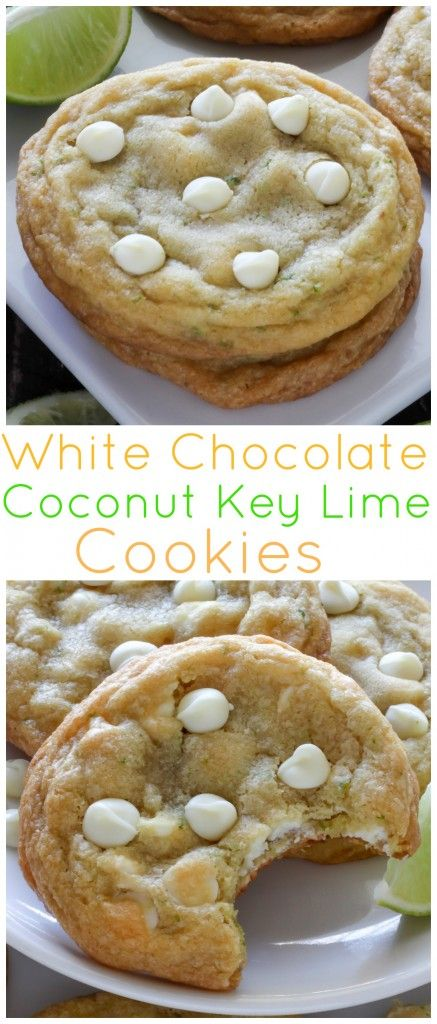 Thick and chewy, these White Chocolate Coconut Key Lime Cookies are full of flavor!