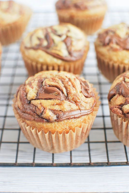 Banana Muffins with Nutella Swirl #banana #nutella #muffin
