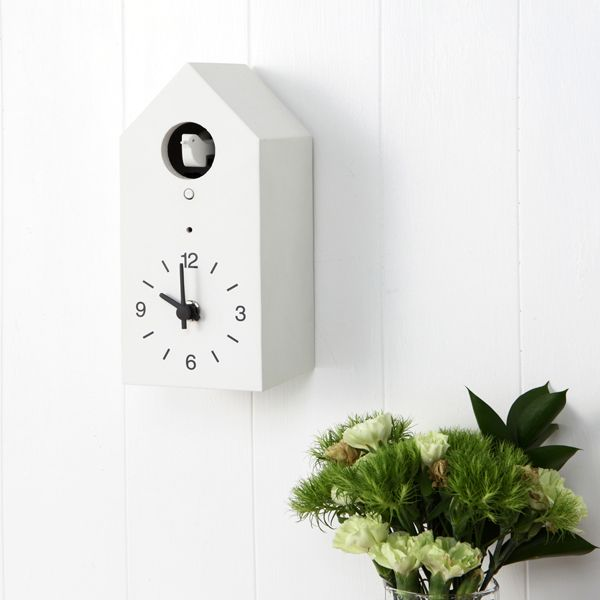 An innovative approach to a classic design, MUJI's cuckoo clock has two chime functions and employs a clever light sensor so it does not ring in the dark.