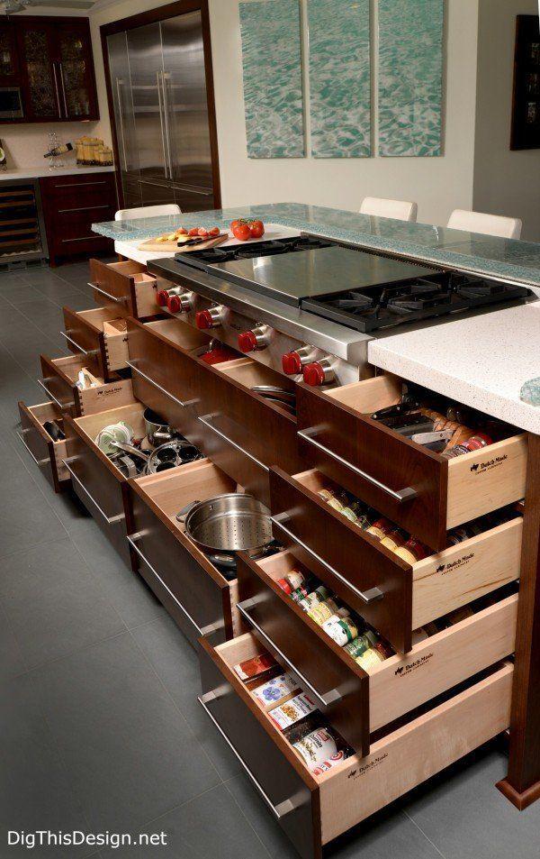 kitchen island drawer storage in a soft contemporary kitchen interior design