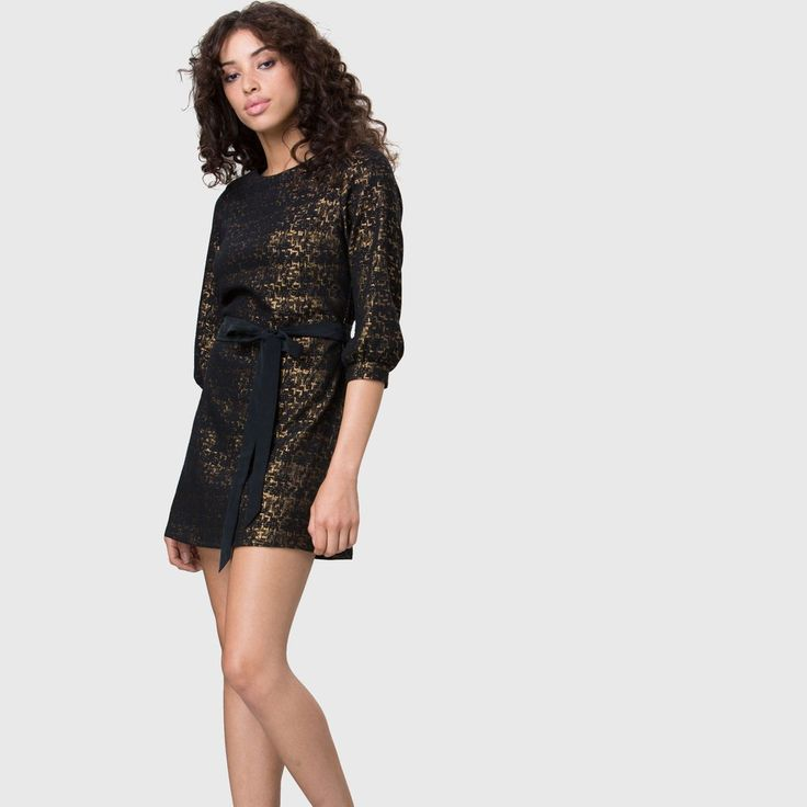 YSTR Ambre Dress - Women's black and gold mini dress with silk belt front