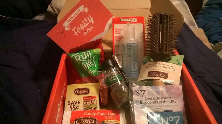 This is my influentster frosty vox box  #red vines#rimmel #nyc lipstick # mc cormick  #celestial seasonings #eco tools #no7 #influenste # complimentary box