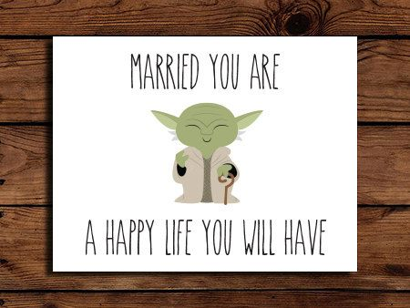 Star Wars Wedding Card Printable // Geeky Wedding Card // Yoda Wedding Card // Engagement // INSTANT DOWNLOAD on Etsy, $2.00