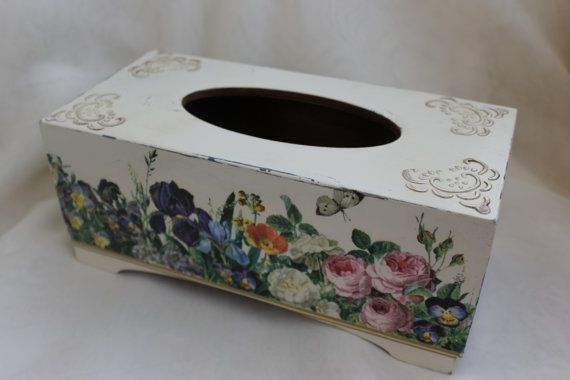 Shabby chic Tissue box cover, wooden decoupage box, tissue box holder,shabby…