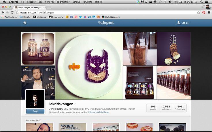 Find @lakridskongen - Johan Bülow - himself on Instagram! Use hashtags #lakridskongen #lakridsbyjohanbülow #johanbülow and #lakrids http://instagram.com/lakridskongen