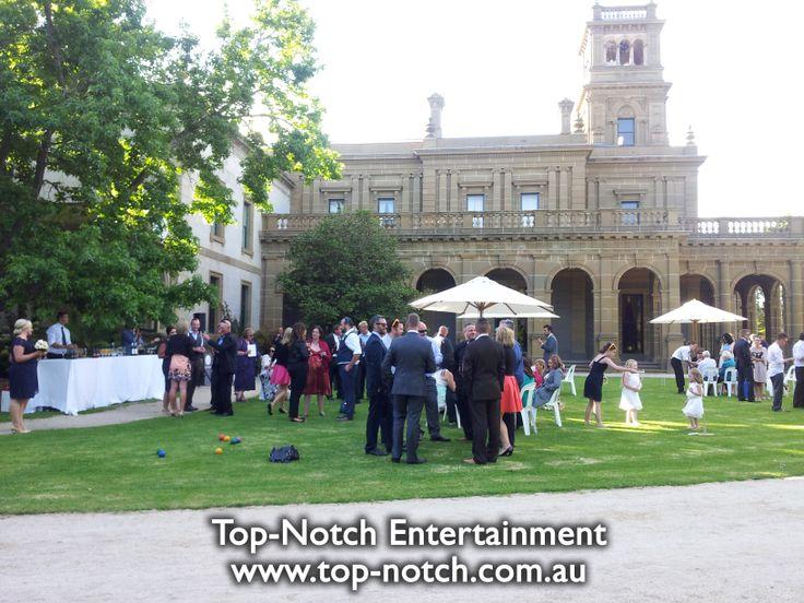 Outdoor wedding ceremony at the Werribee Park Mansion Reception Centre.  www.top-notch.com.au  www.facebook.com/WeddingDJTopNotch