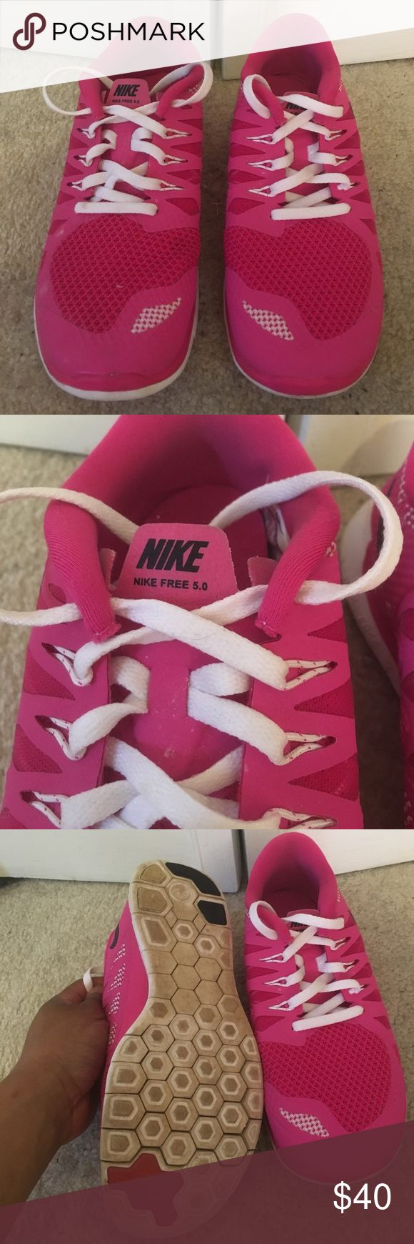 Kids Nike Free 5.0 shoes Nike shoes for kids! Great pink color!!! Have been worn as shown in pictures Nike Shoes Sneakers