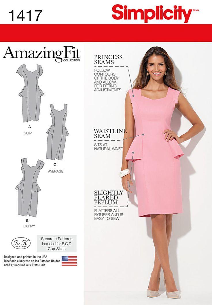 S1417 Misses' / Women's Peplum Dress   Amazing Fit