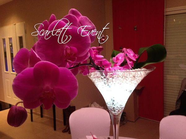 Vase martini orchidées