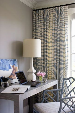 Zebra print and a subtly Asian-inspired Chippendale chair. Sundress and feet in the sand. Looks like a great home office space!
