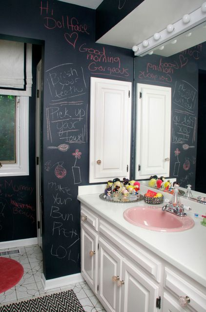 Eclectic Bathroom by michelle williams interiors. Love the idea of a chalkboard wall for a kids' or teen bathroom.