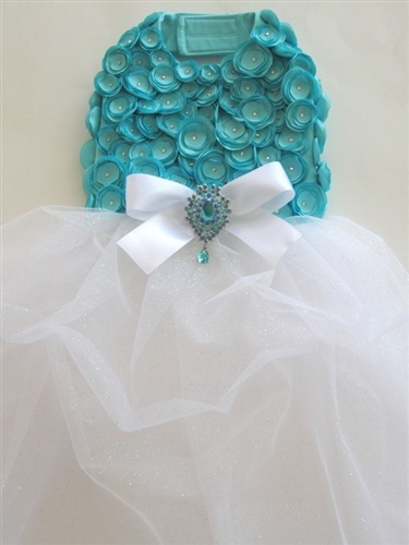 Tiffi Tiffany Blue Rosette Dog Harness Dress - LOVE IT!! Miranda will use this dress in my wedding party! #dogs http://www.poshpuppyboutique.com/Tiffi_Tiffany_Blue_Rosette_Dog_Harness_Dress_p/ly-tiffrose.htm