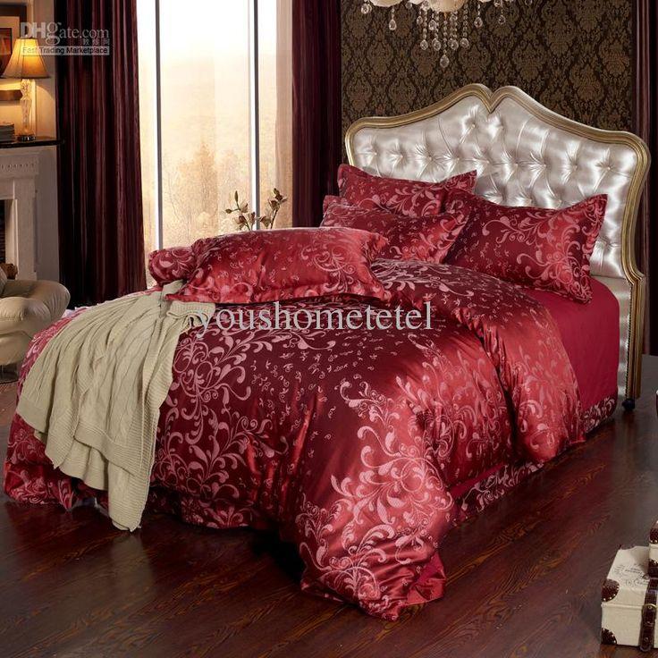 wholesale bed in a bag buy home textile luxury bedding sets red satin comforter set european. Black Bedroom Furniture Sets. Home Design Ideas