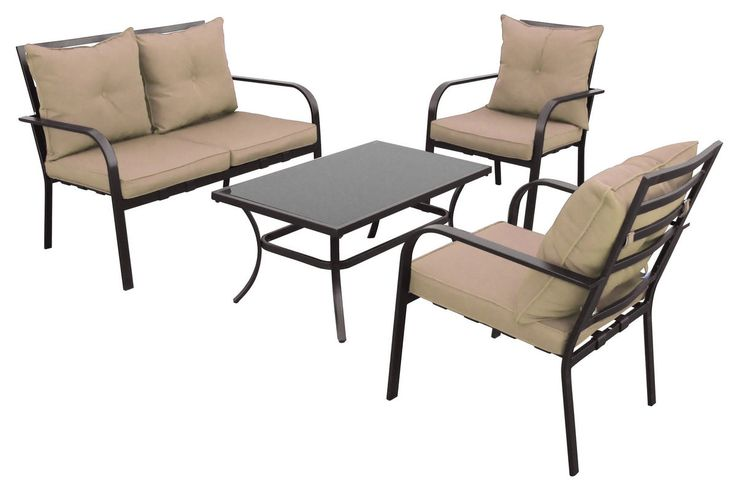 CorLiving 4-Piece Taupe Patio Conversation Set from Gardner-White Furniture