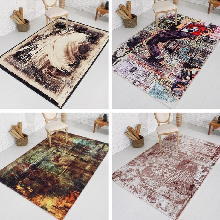 Modern Simple Carpets For Living Room Retro Abstract Art Area Rug For Home Bedroom Coffee Table Floor Mat Anti-Slip Rugs