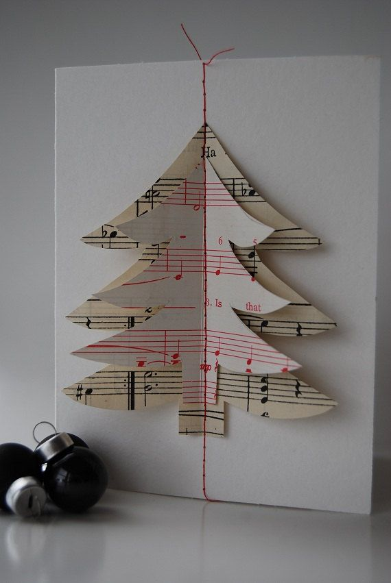 Christmas Card - hand made from vintage sheet music, celebrate the holiday season $5